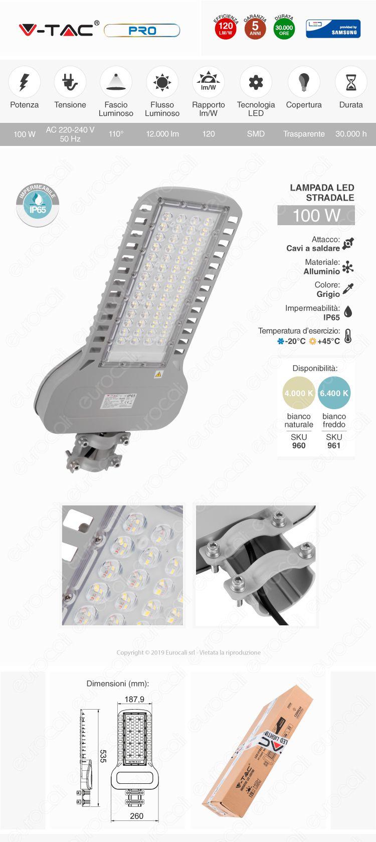 V-Tac PRO VT-104ST Lampada Stradale LED 100W Lampione SMD Chip Samsung