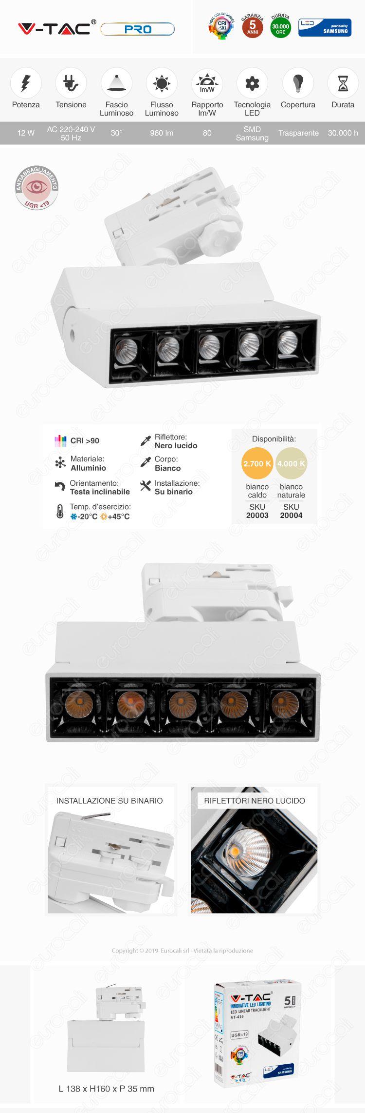 V-Tac VT-4536 Track Light LED COB 35W Bianco