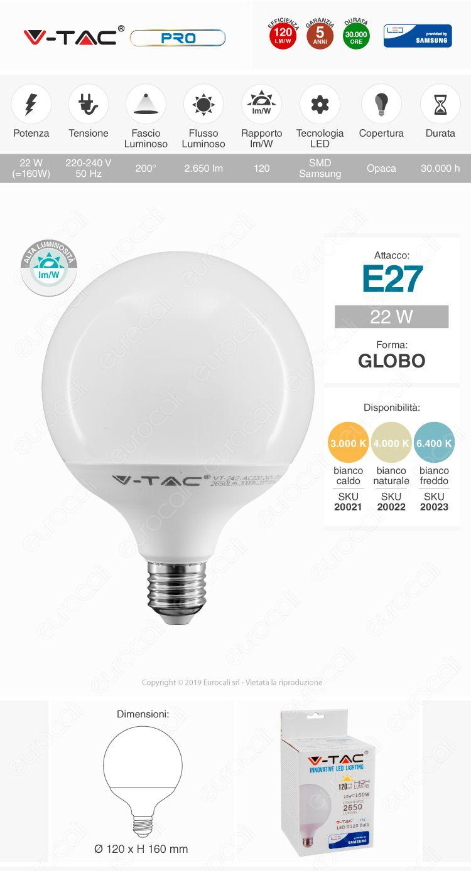 V-Tac PRO Lampadina E27 Globo G120 22W
