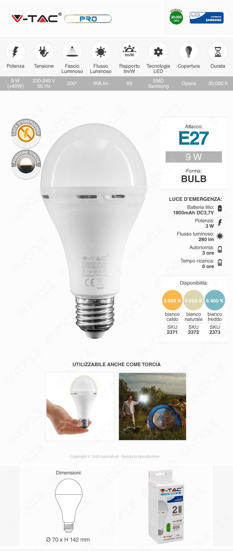 V-Tac PRO Lampadina LED E27 Luce Emergenza