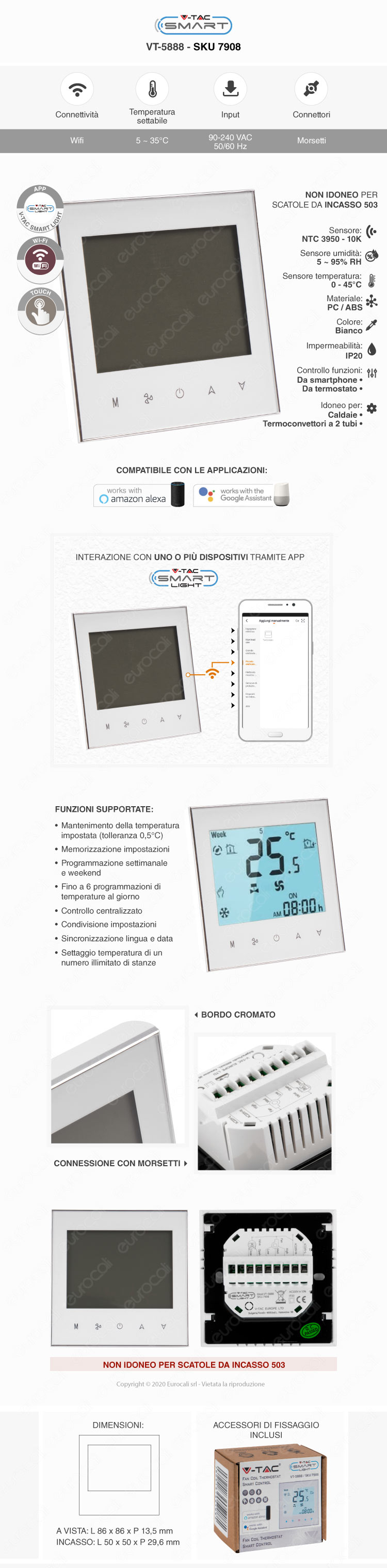 V-Tac VT-5888 Termostato Wi-Fi