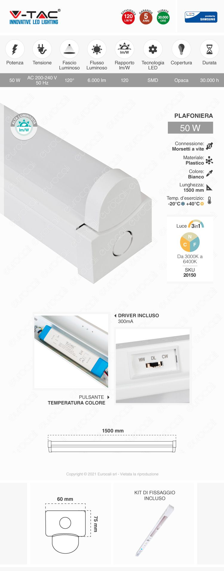 lampada industriale 3in1 vt-8-55 LED batten fitting