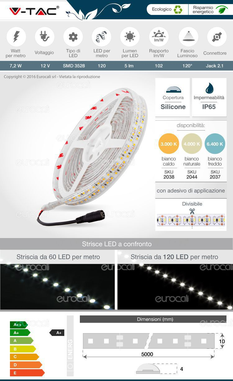 striscia led flessibile bobina 120  led al metro 3528