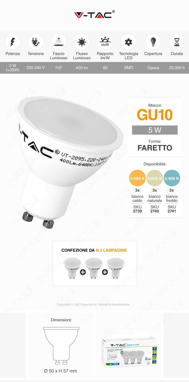 lampadina led v-tac gu10