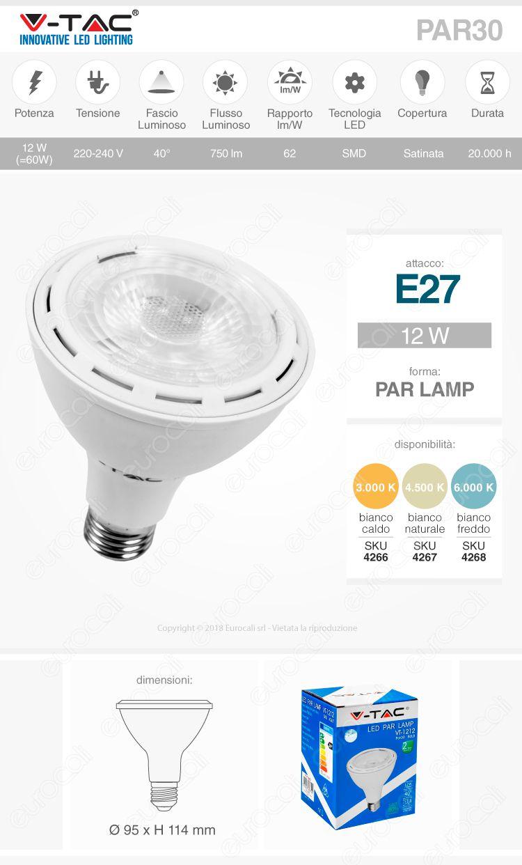 lampadina led par 30 lamp E27 12 W