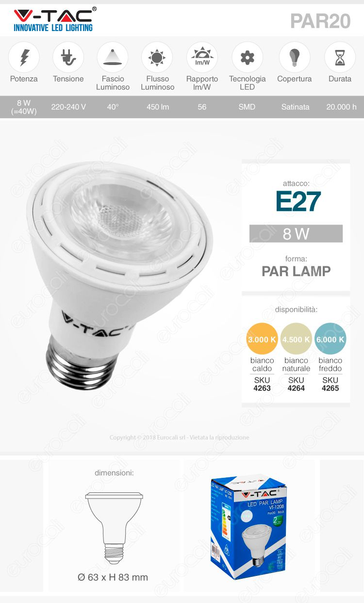 lampadina par20 lamp E27 8W