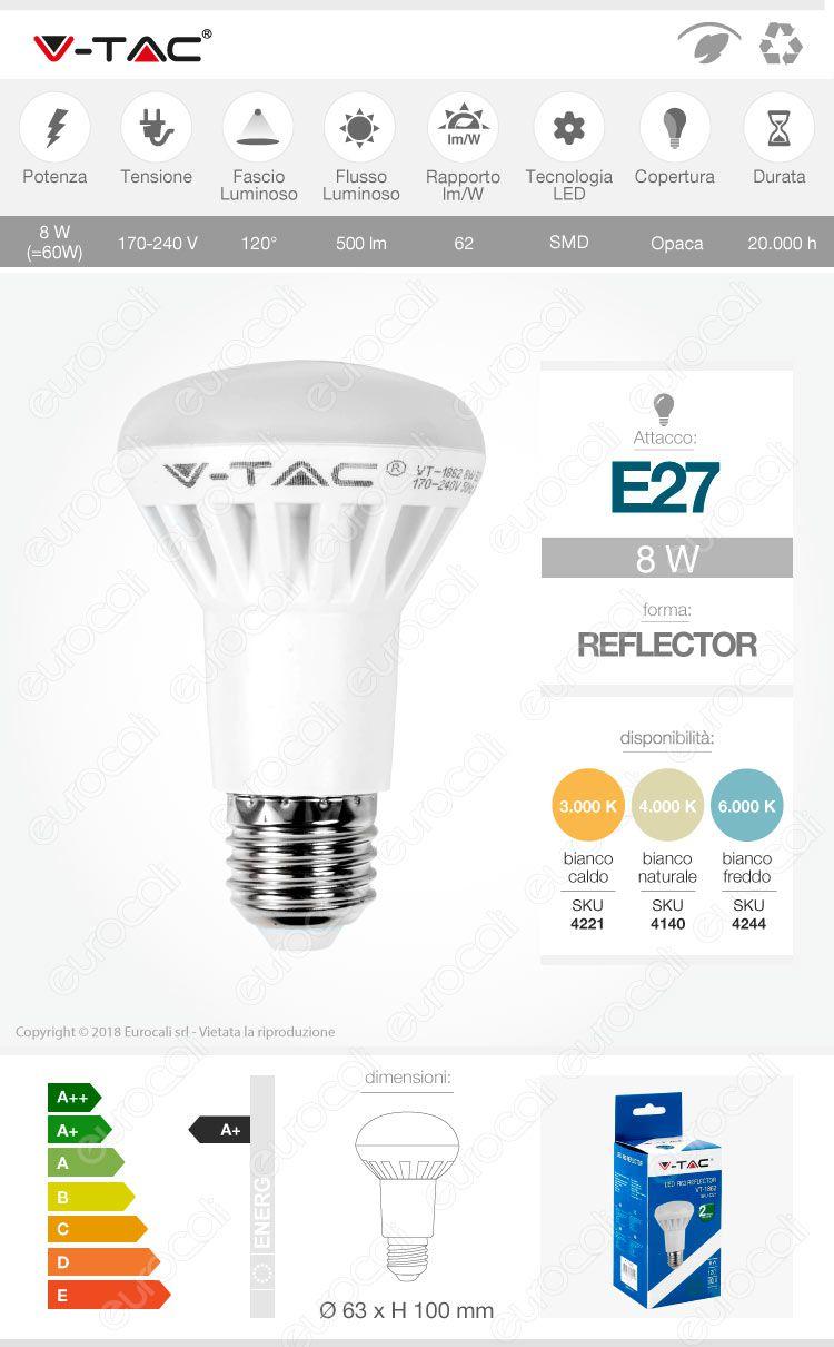 lampadina led v-tac reflector e27