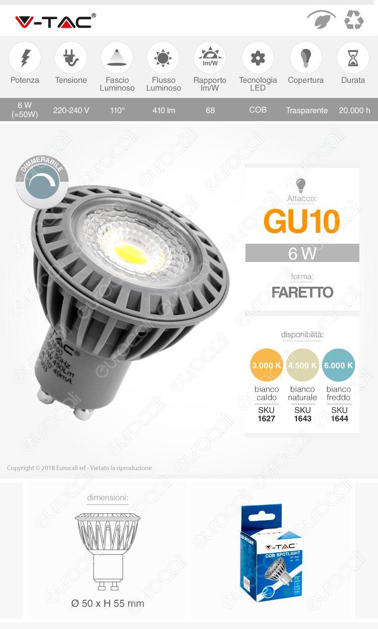 LED V-TAC VT-1860D GU10 Dimmerabile