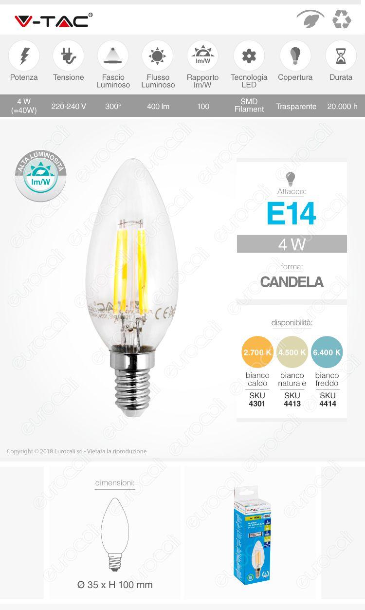 Lampadina LED filamento V-Tac e14