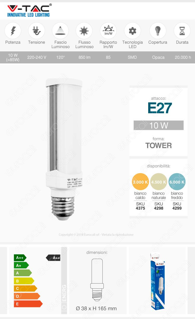 lampadina led e27 tower