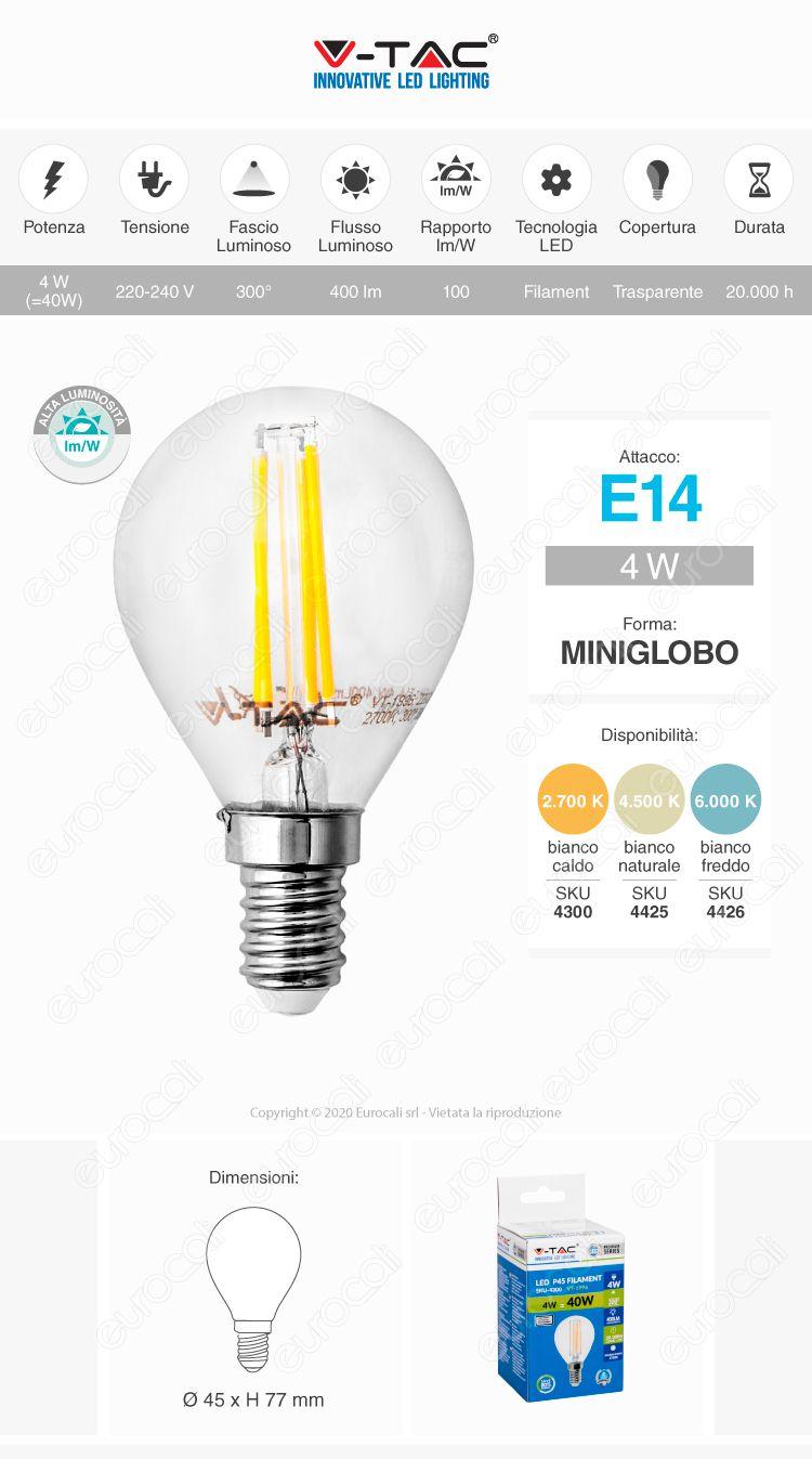 Lampadina E14 LED Filamento V-Tac