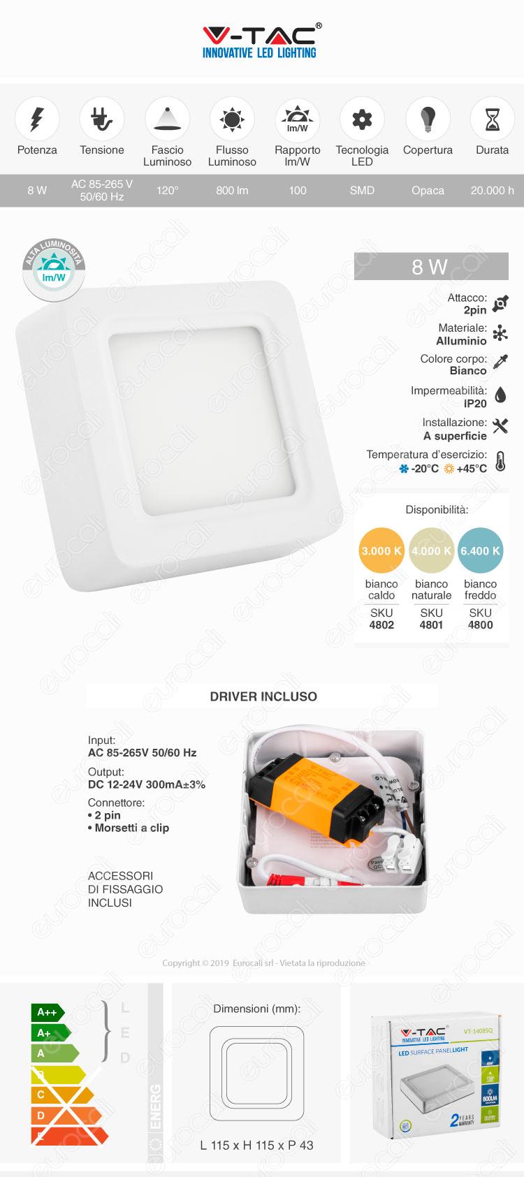 v-tac Lampadina minipannello LED