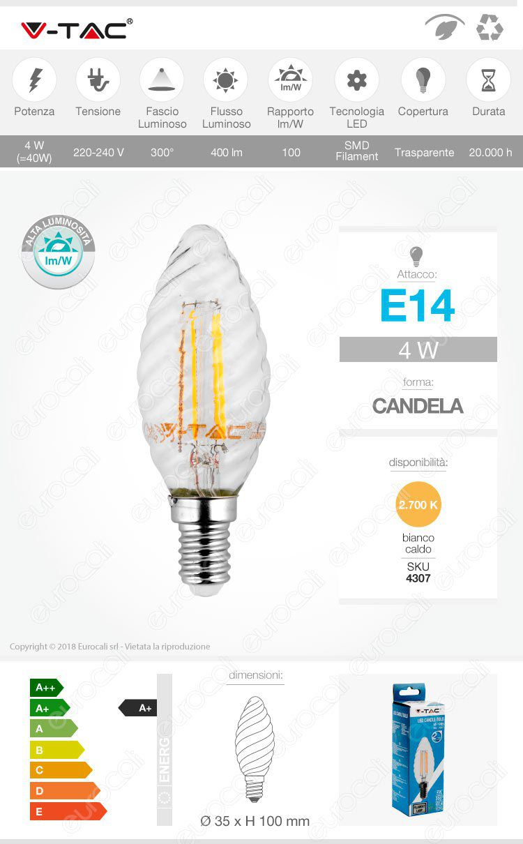 Lampadina LED E14 4W Candela Dimmerabile