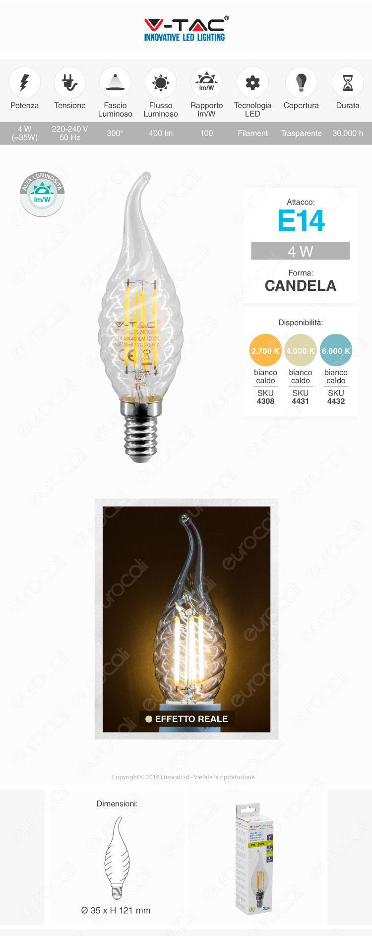 Lampadina LED E14 4W Candela Twist