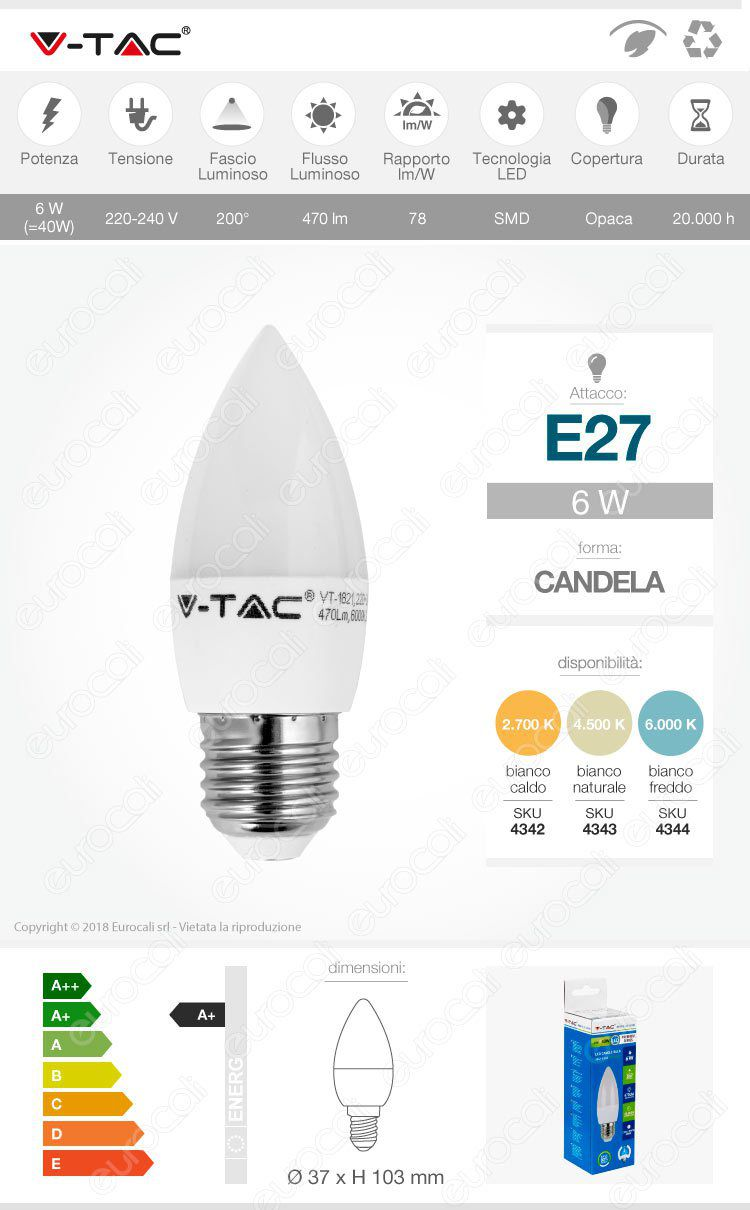 Lampadina LED E27 6W Candela