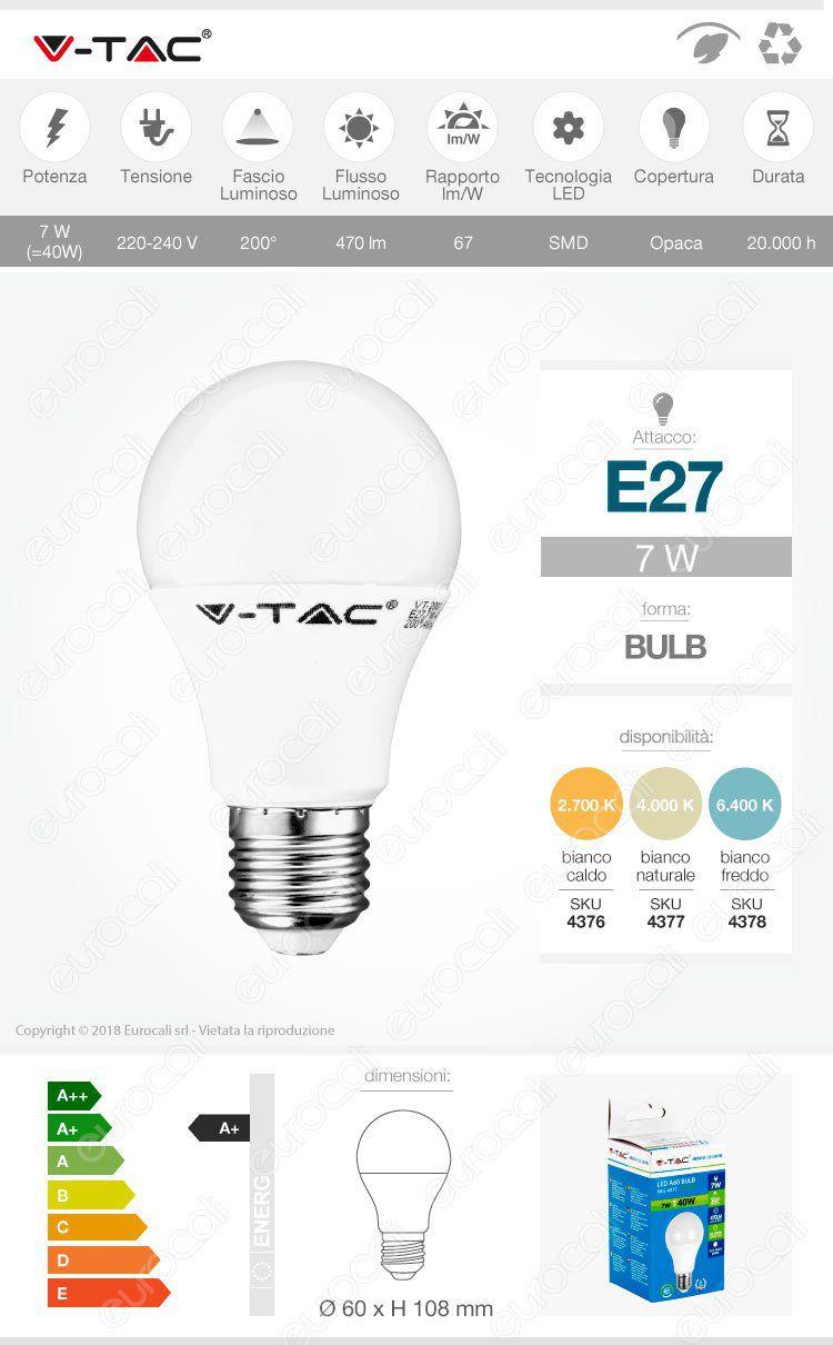 Lampadina LED E27 7W Bulb