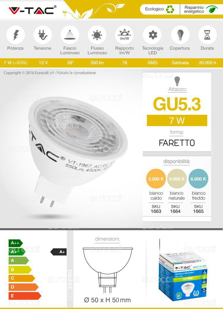 faretto lampadina led gu5.3 v-tac