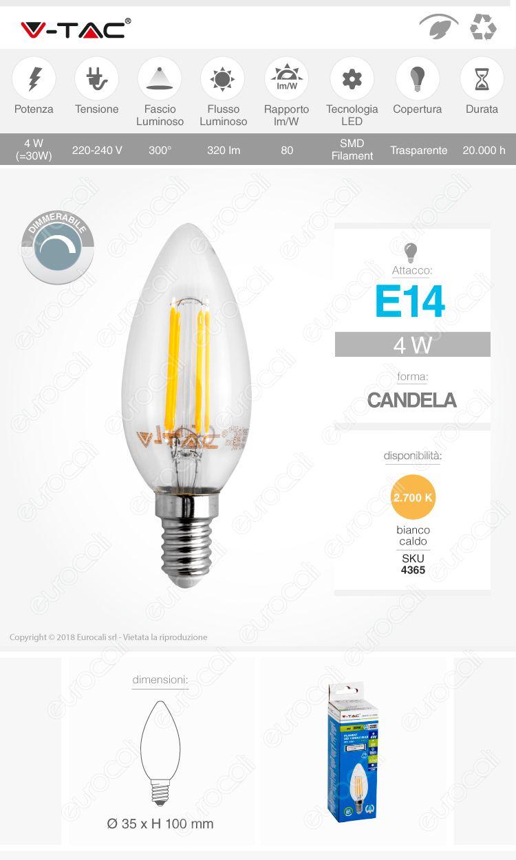 Lampadina LED E14 4W Candela Dimmerabile