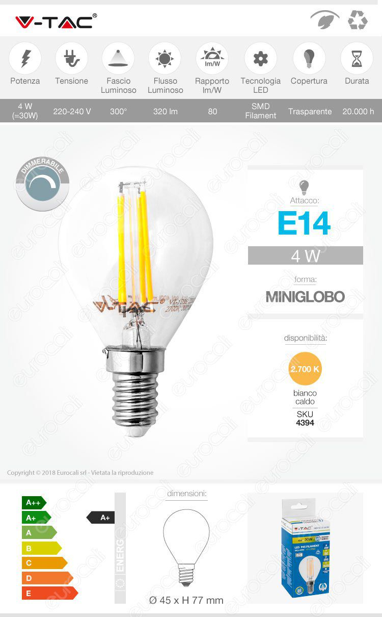 Lampadina LED E14 4W Miniglobo Filament