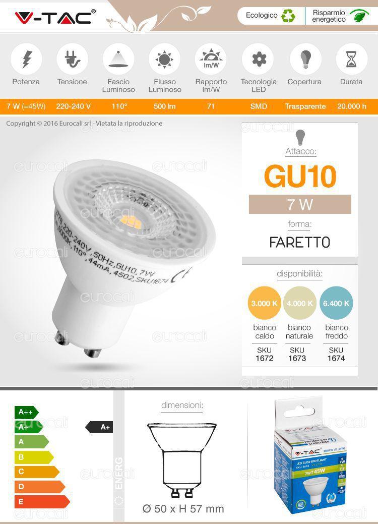 faretto lampadina led gu10 v-tac