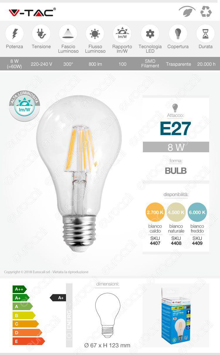 Lampadina LED E27 Filament 8W Bulb