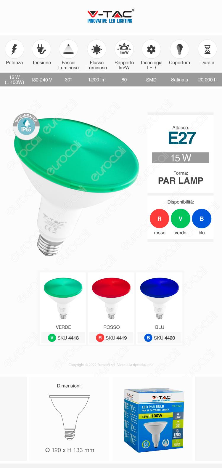 Lampada LED E27 PAR38 V-Tac
