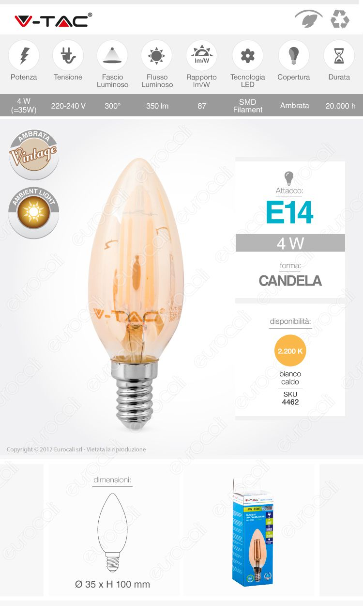 v-tac Lampadina LED E14 amber