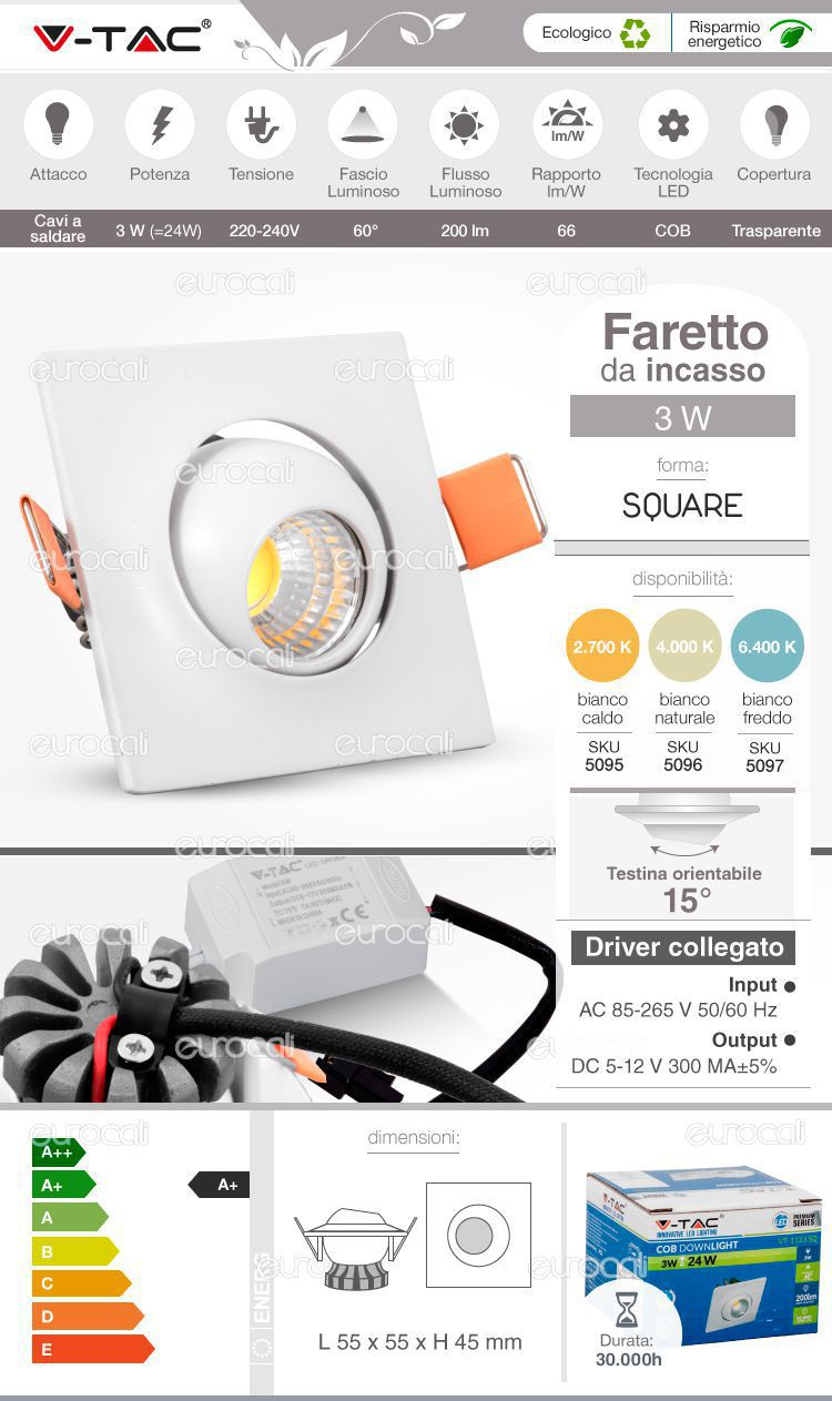 faretto cob da incasso led