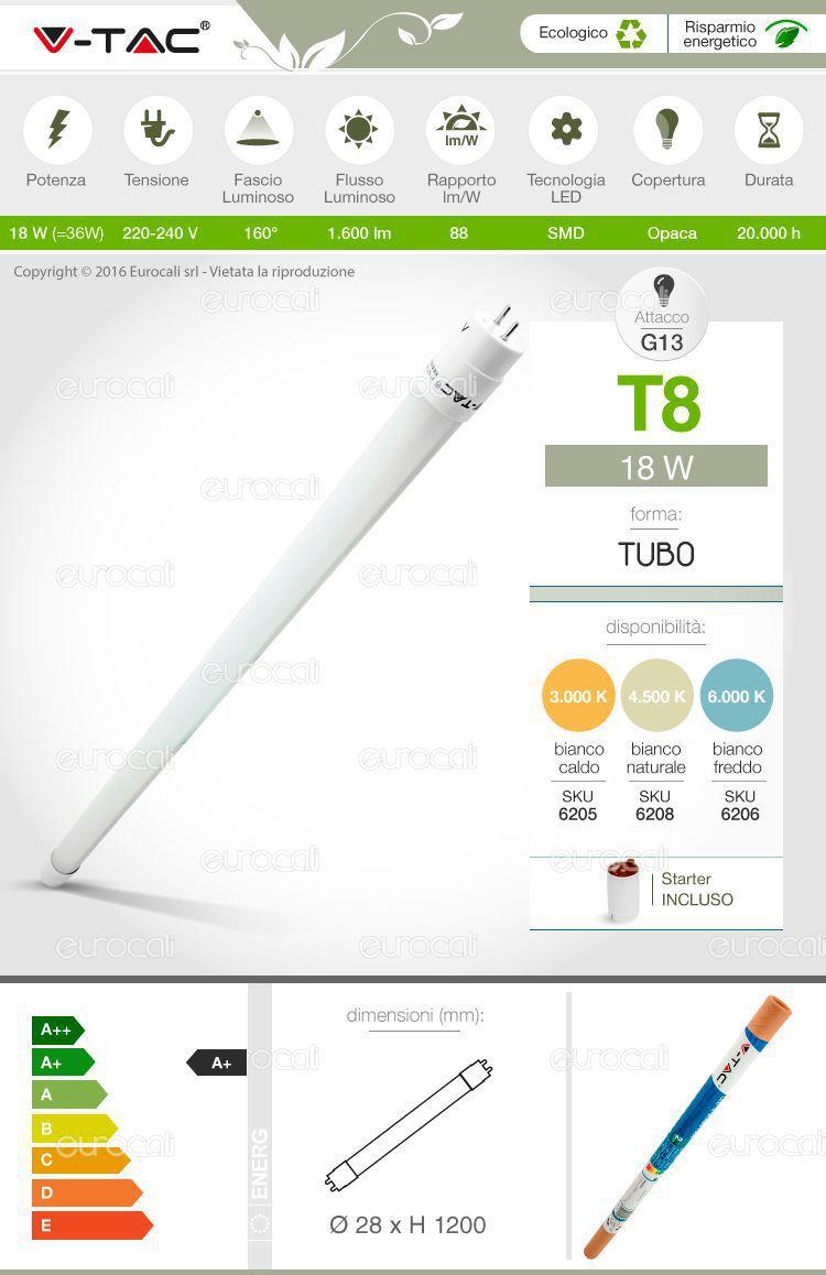 tubo led v-tac t8 g13 lampadina