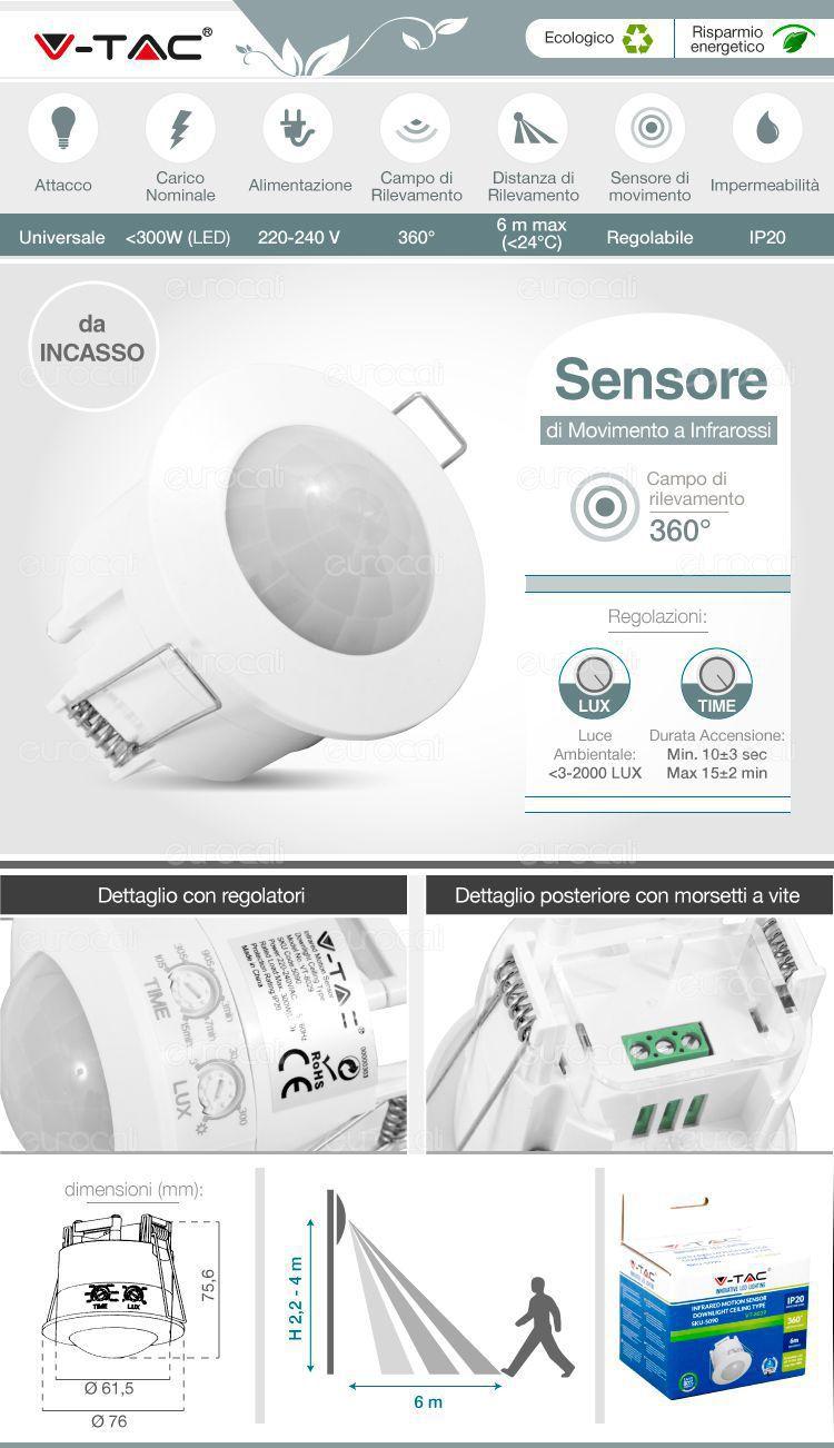 Sensore di movimento infrarossi V-tac