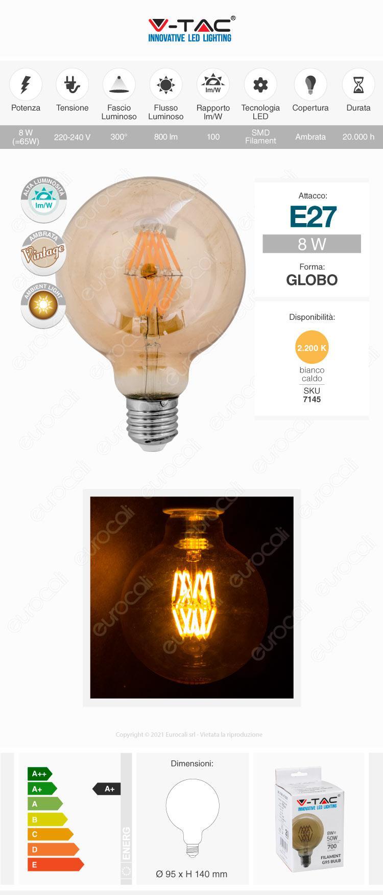 v-tac Lampadina LED E27 amber
