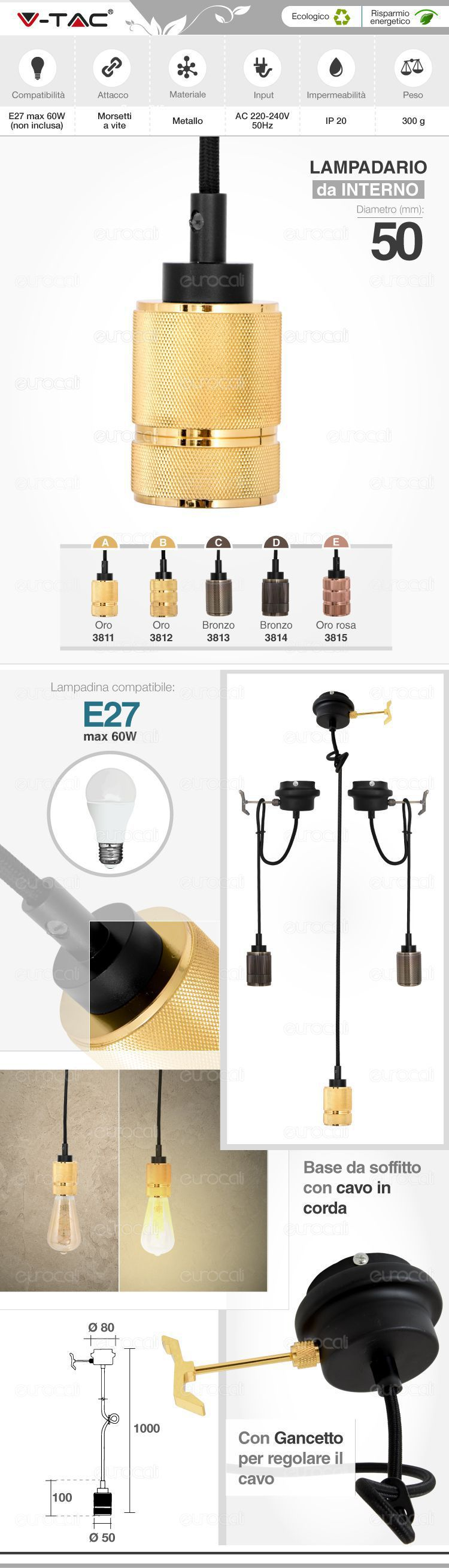 Porta lampada lampadario v-tac