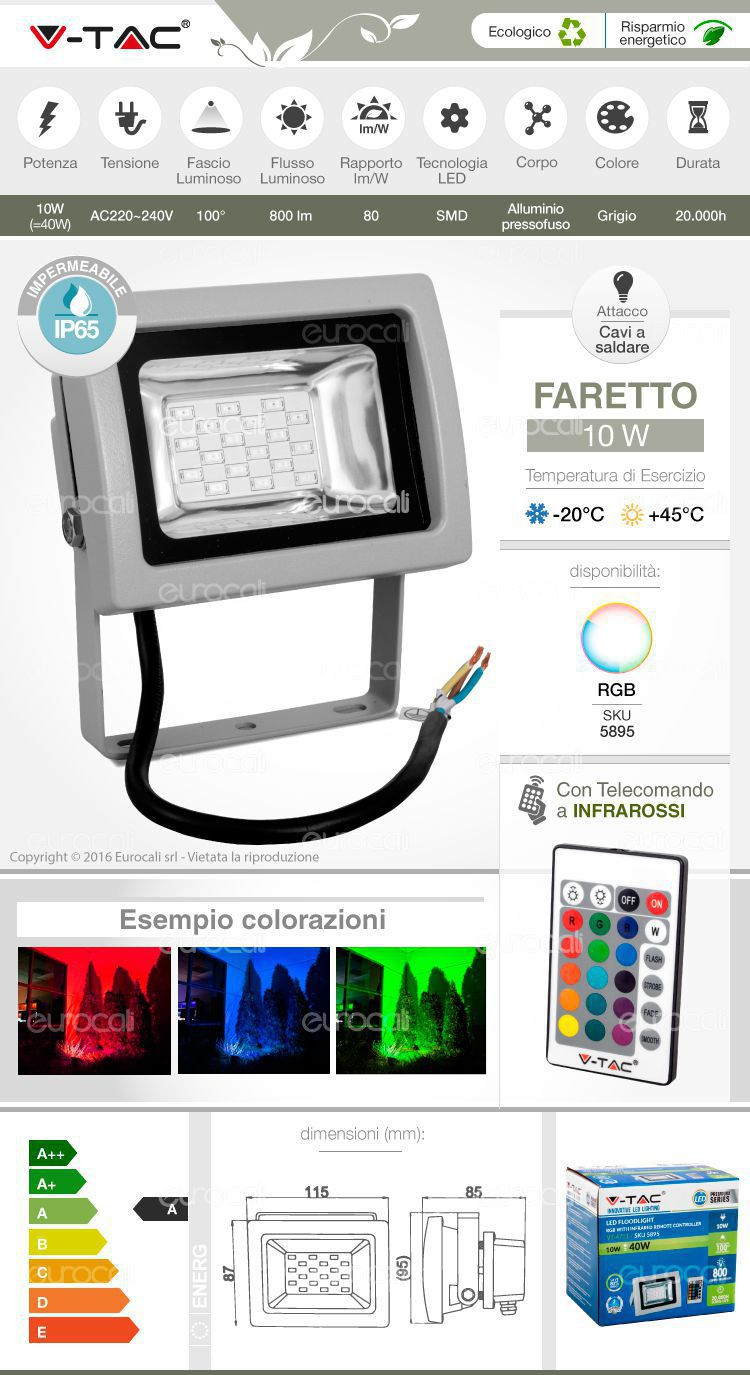 Faretto led 10w da esterno con telecomando infrarossi v for Faretto led rgb