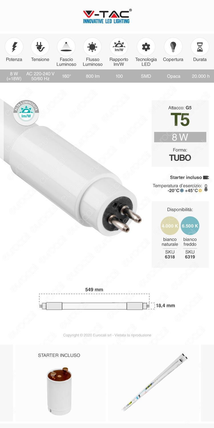 Tubo led t5 g5 v-tac