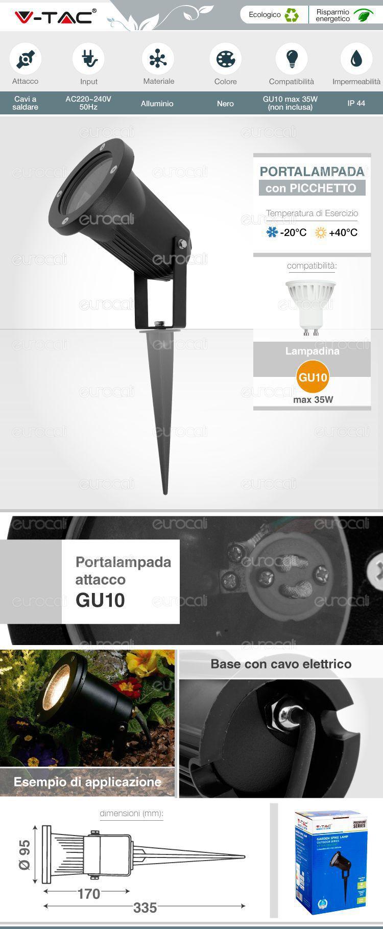 Vt 769 portalampada v tac con picchetto per lampadine gu10 for Portalampada led