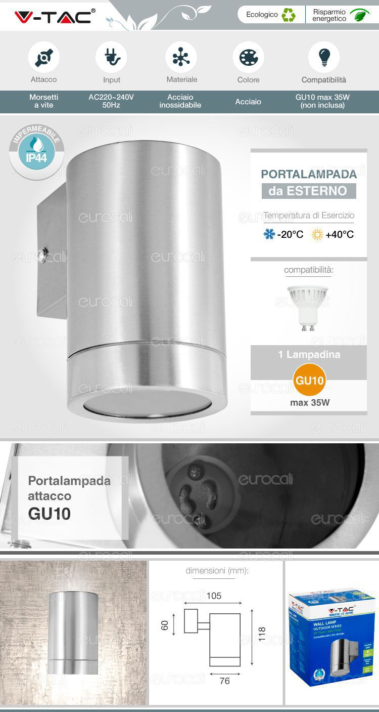 wall light gu10 v-tac