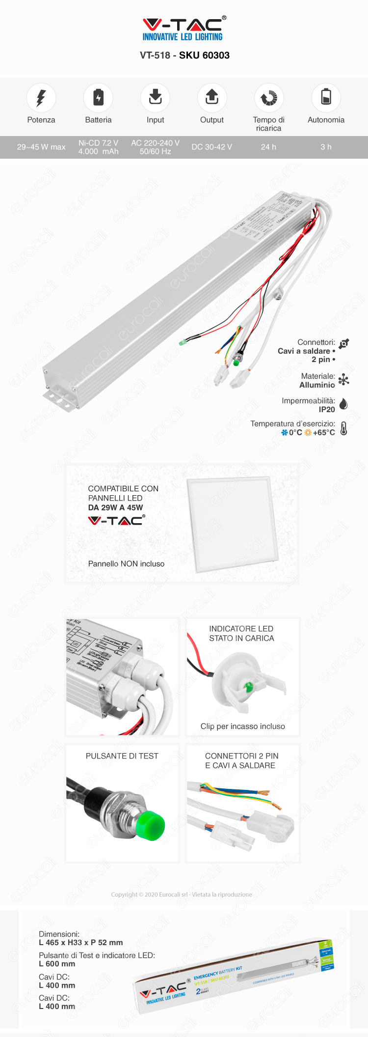 Kit batterie emergenza per pannelli LED