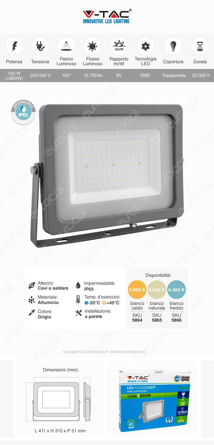Faretto da Esterno Proiettore LED SMD slim