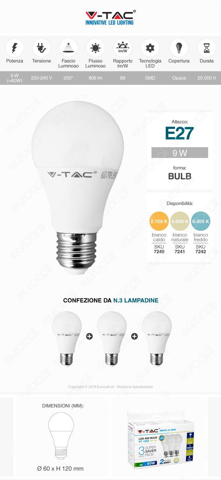 lampadina led v-tac e27