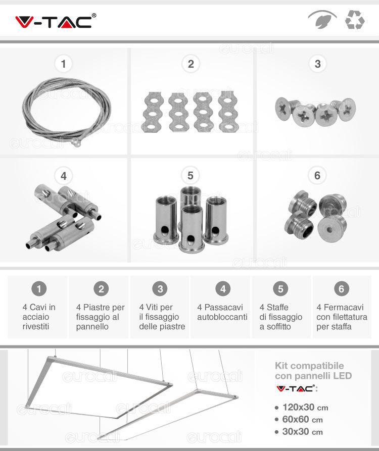 Kit per montaggio a sospensione pannelli led