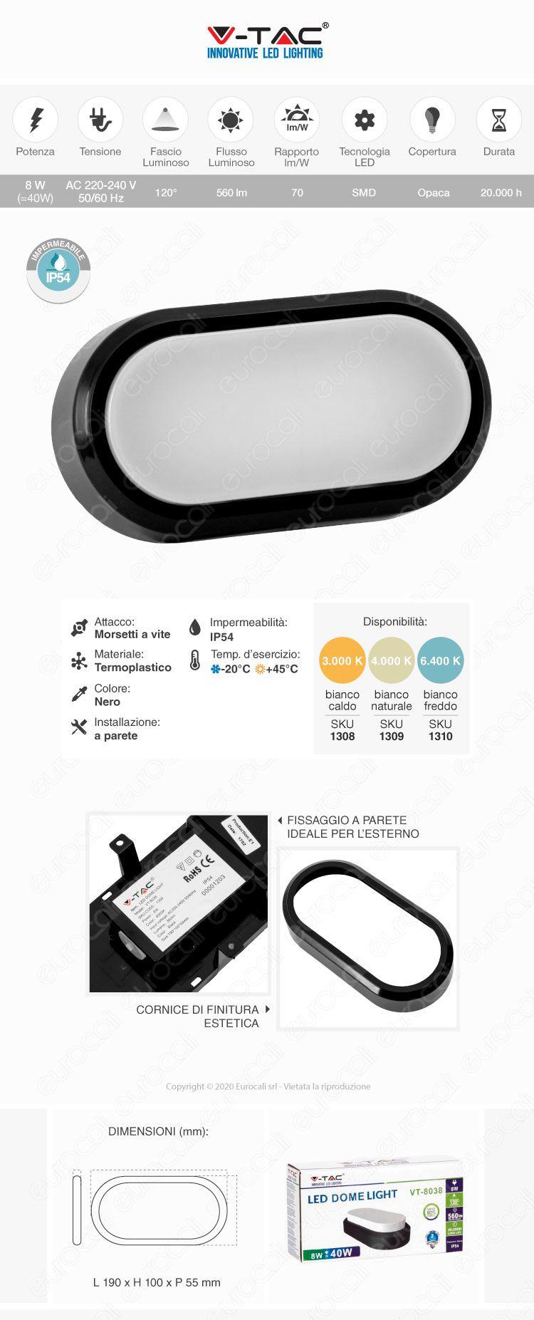 V-Tac wall light nera