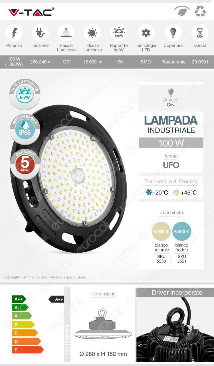 V-Tac lampada industriale ufo led