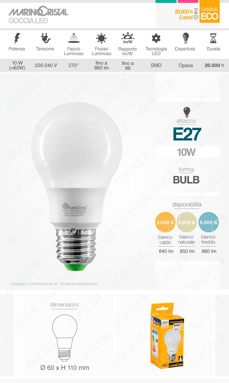 Marino Cristal Serie ECO Lampadina LED E27 10W Bulb A60
