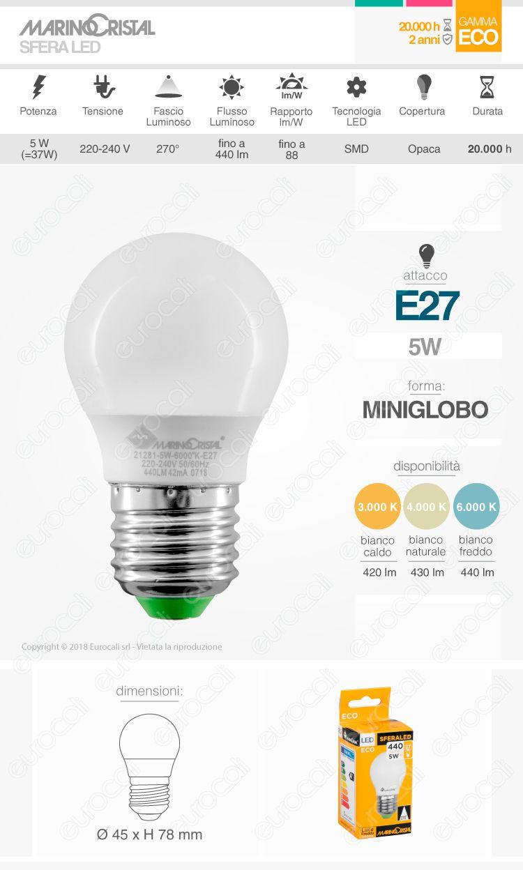 Lampadina LED E27 5W MiniGlobo G45 Marino Cristal Serie ECO