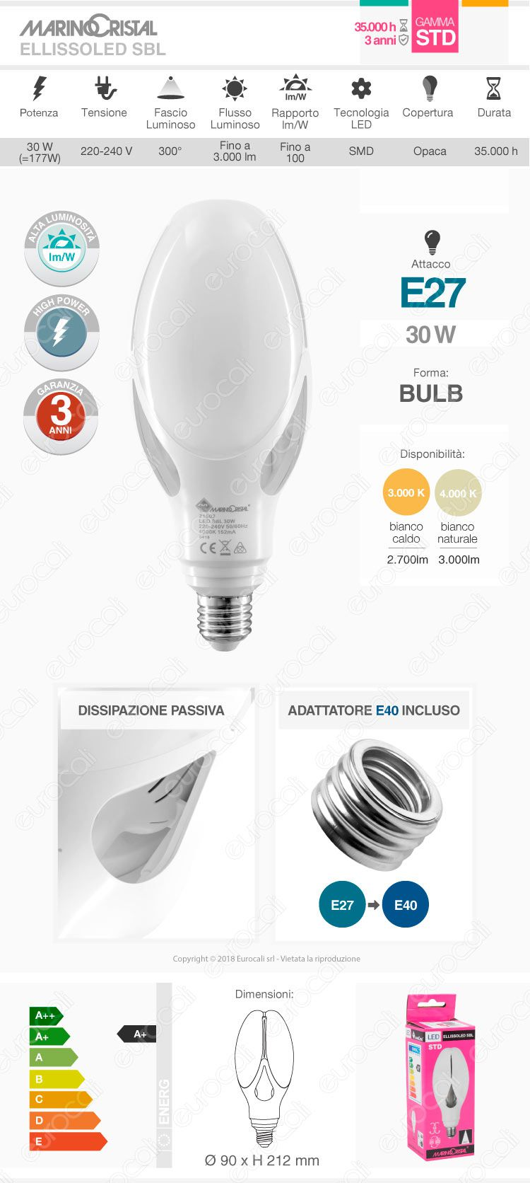 Marino Cristal Serie STD Lampadina LED Bulb Hi-Power E27 30W - mod. 21501 / 21502