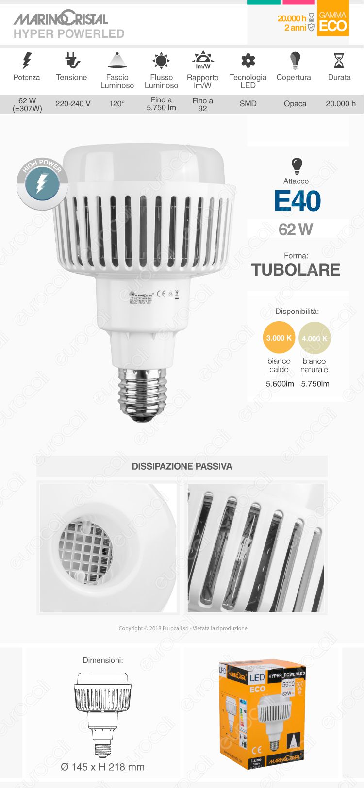 Lampadina LED High Power Bulb E40 62W Marino Cristal Serie ECO