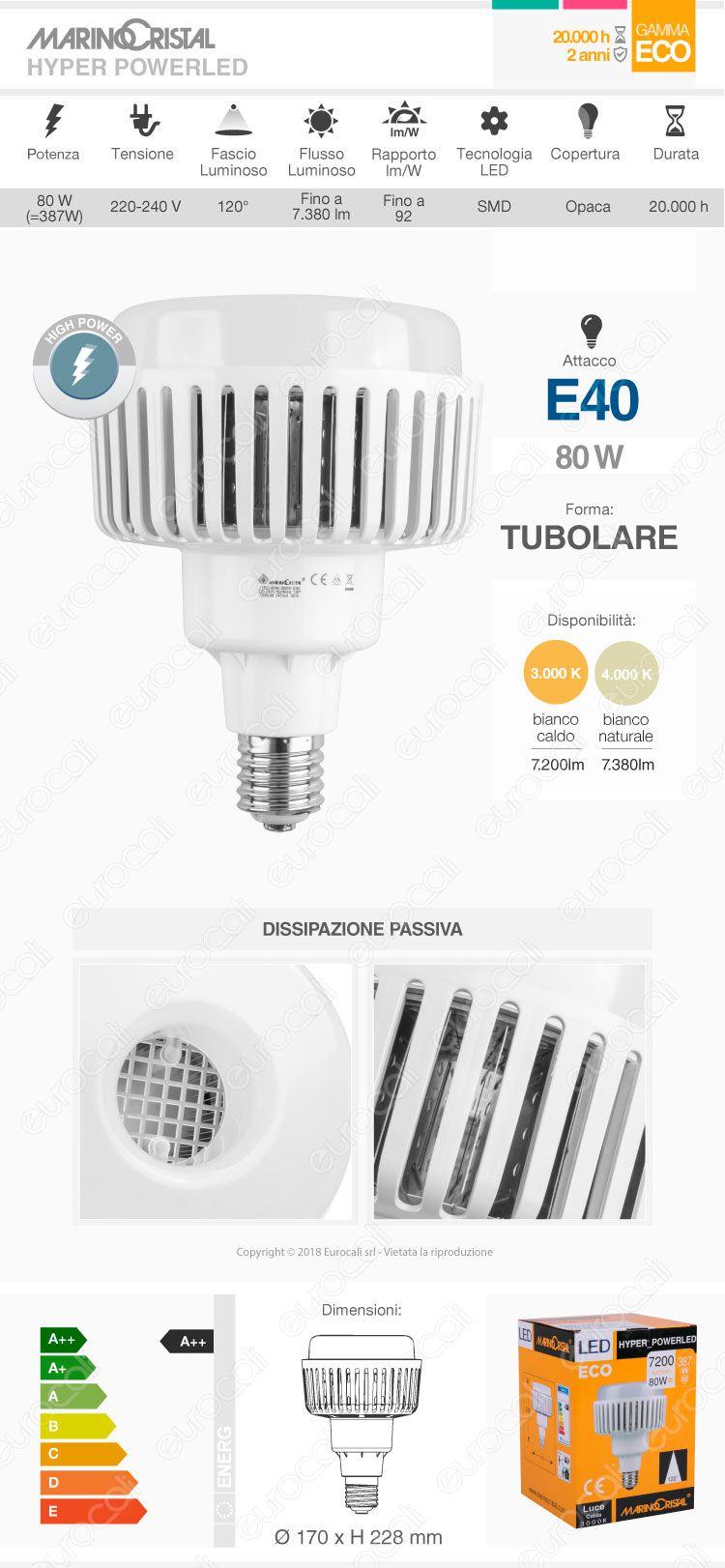 Marino Cristal Serie ECO Lampadina LED High Power Bulb E40 80W mod. 21522 / 21523