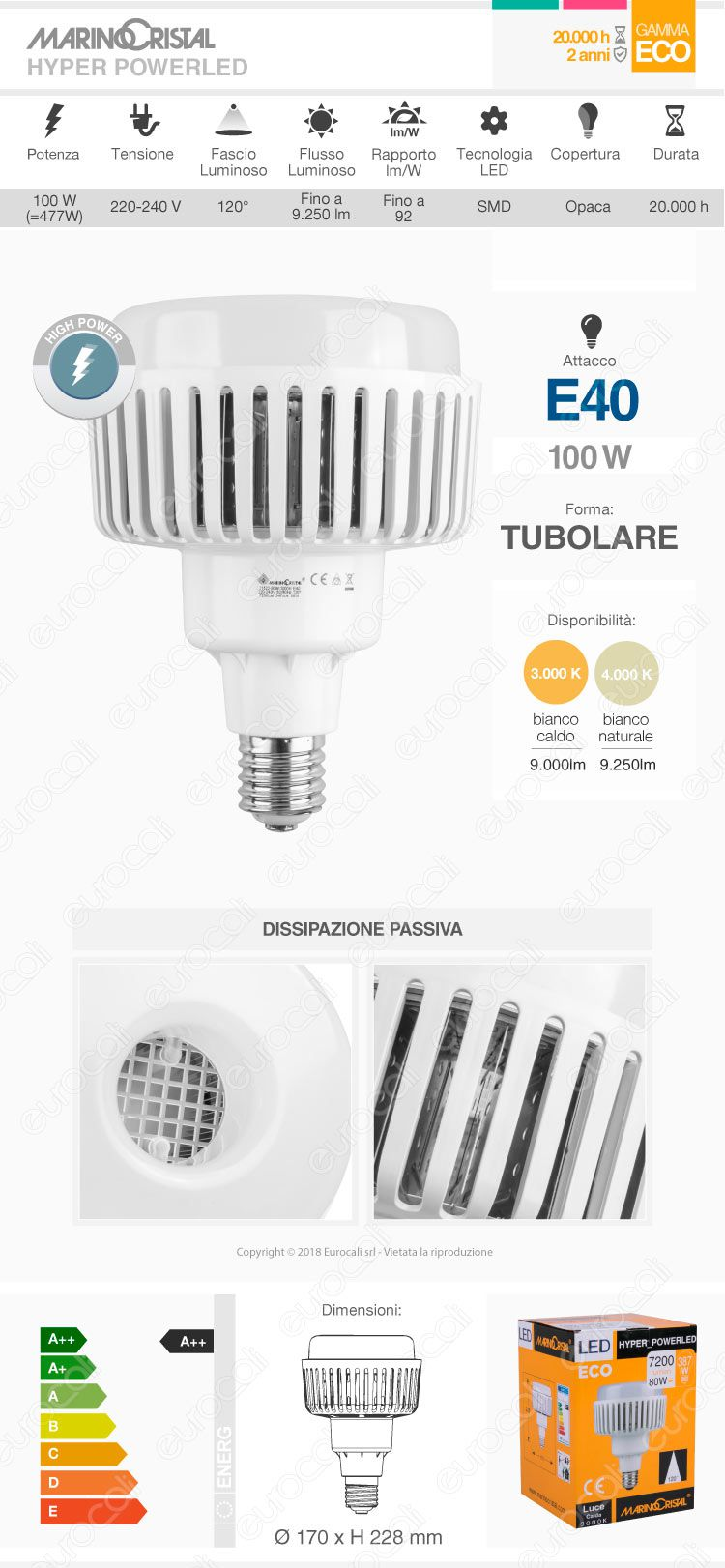 Marino Cristal Serie ECO mod. 21524 / 21525Lampadina LED High Power Bulb E40 100W