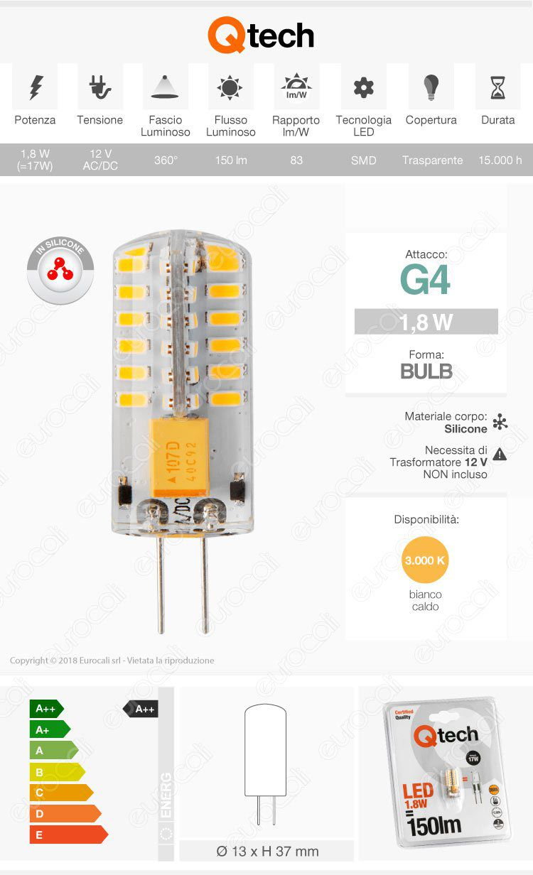 Qtech Lampadina LED G4