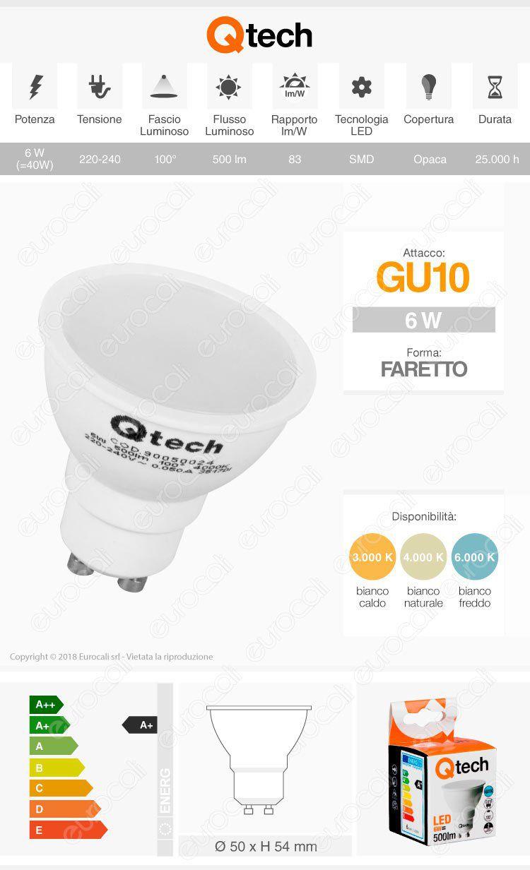 Lampadina LED Qtech GU10